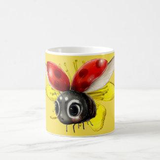 Cute Flying Ladybug on Yellow Flower Coffee Mug