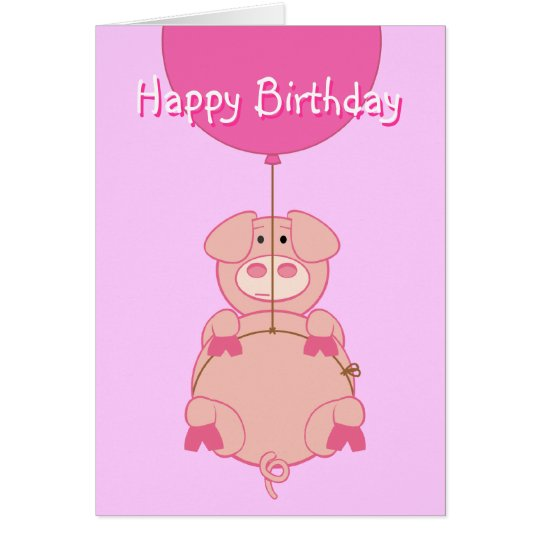 Cute Flying Pig and Balloon Card