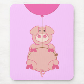Cute Flying Pig and Balloon Mouse Pad