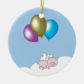 Cute Flying Pig and Balloons Art Ceramic Ornament