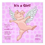 """Cute Flying Pig Baby Shower Party Invitation 5.25"""" Square Invitation Card"""