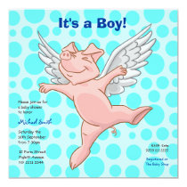 Cute Flying Pig Baby Shower Party Invitation