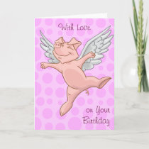 Cute Flying Pig Birthday Card