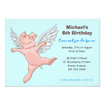 Cute Flying Pig Birthday Party Invitation