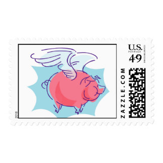 Cute Flying Pig Postage Stamps