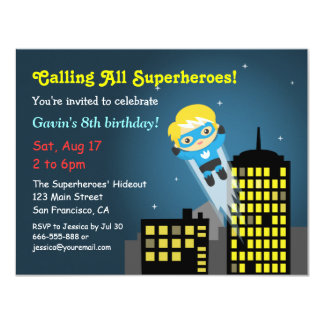 Cute Flying Superhero Birthday Party Card
