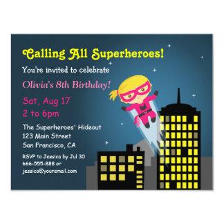 Cute Flying Superhero Girl Birthday Party Card