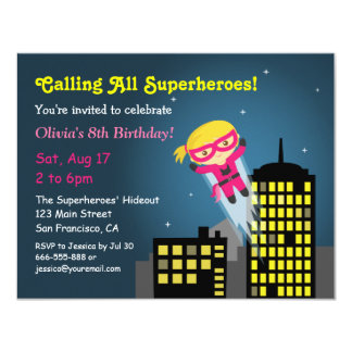 Cute Flying Superhero Girl Girls Birthday Party Card