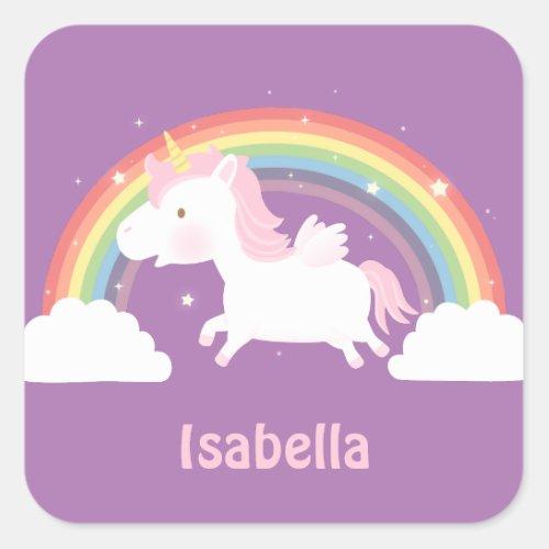 Cute Flying Unicorn and Rainbow Girls Stickers