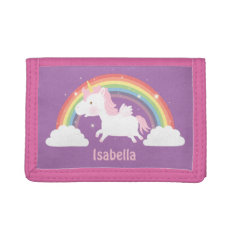Cute Flying Unicorn and Rainbow Girls Wallet at Zazzle