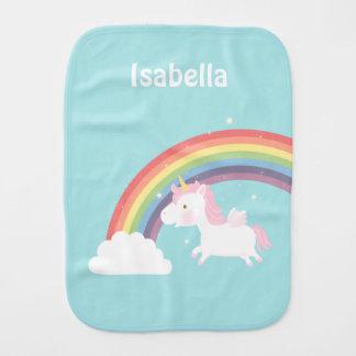 Cute Flying Unicorn Rainbow For Baby Girl Baby Burp Cloth