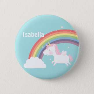 Cute Flying Unicorn Rainbow For Girls Button