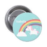 Cute Flying Unicorn Rainbow For Girls Button