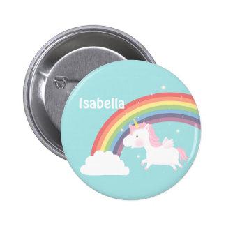 Cute Flying Unicorn Rainbow For Girls 2 Inch Round Button