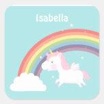 Cute Flying Unicorn Rainbow For Girls Square Sticker