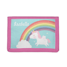 Cute Flying Unicorn Rainbow For Girls Tri-fold Wallet at Zazzle