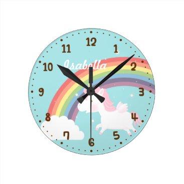 RustyDoodle Cute Flying Unicorn Rainbow Girls Room Decor Round Clock