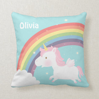Cute Flying Unicorn Rainbow Girls Room Decor Throw Pillow