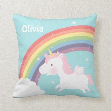 RustyDoodle Cute Flying Unicorn Rainbow Girls Room Decor Throw Pillow