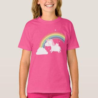 Cute Flying Unicorn Rainbow Girls Tee