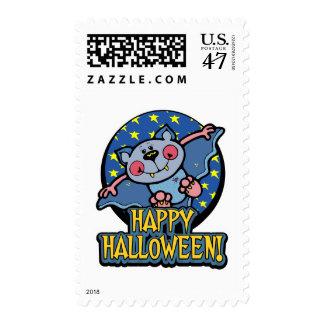 Cute Flying Vampire Bat Halloween Stamps