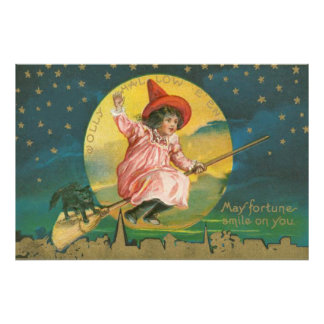 Cute Flying Witch Black Cat Full Moon Photo Print