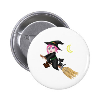 Cute Flying Witch Pinback Button