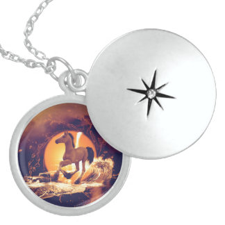 Cute foal round locket necklace