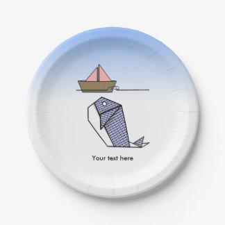 Cute Folder Paper Whale Paper Plate