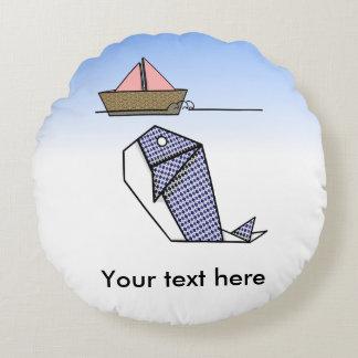 Cute Folder Paper Whale Round Pillow