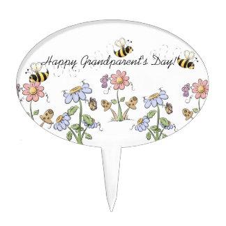 Cute Folk Art Bees Daisies Butterflies Cake Topper