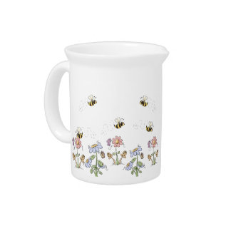 Cute Folk Art Bees Daisies Butterflies Drink Pitcher