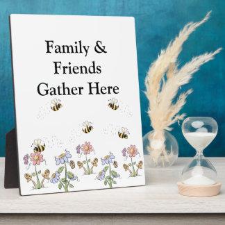 Cute Folk Art Bees Daisies Butterflies Plaque
