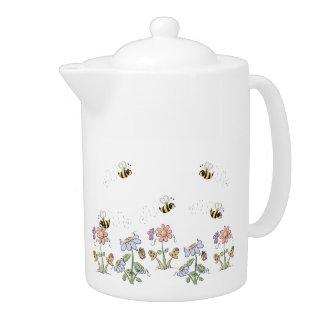 Cute Folk Art Bees Daisies Butterflies Teapot