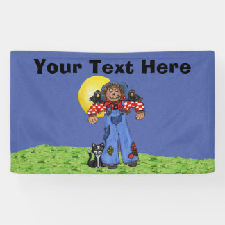 Cute Folk Art Blue Jeans Scarecrow Crows Halloween Banner