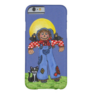 Cute Folk Art Blue Jeans Scarecrow Crows Halloween Barely There iPhone 6 Case