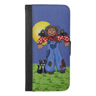 Cute Folk Art Blue Jeans Scarecrow Crows Halloween iPhone 6/6s Plus Wallet Case