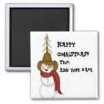 Cute Folk Art Cowboy Snowman 2 Inch Square Magnet