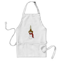 Cute Folk Art Cowboy Snowman Adult Apron