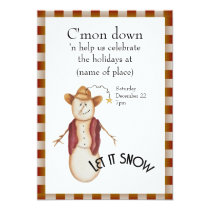Cute Folk Art Cowboy Snowman Christmas Card