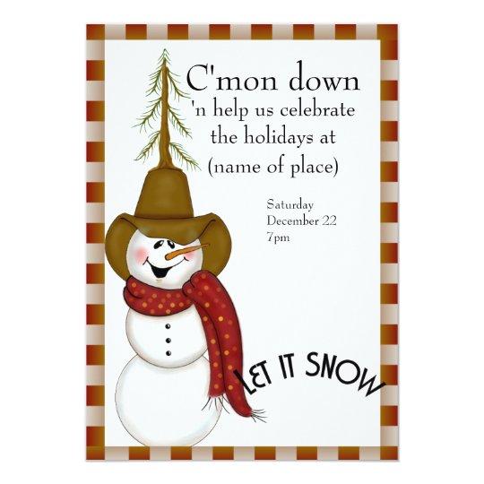 Cute Folk Art Cowboy Snowman Christmas Card