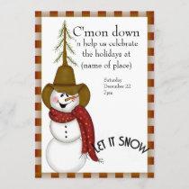 Cute Folk Art Cowboy Snowman Christmas Invitation