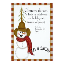 Cute Folk Art Cowboy Snowman Christmas Invitation