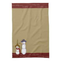 Cute Folk Art Cowboy Snowman Christmas Kitchen Towel
