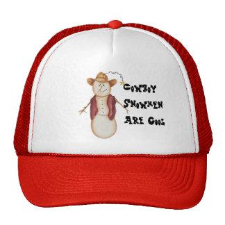 Cute Folk Art Cowboy Snowman Trucker Hat