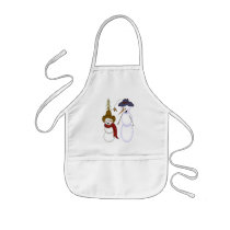 Cute Folk Art Cowboy Snowman Kids' Apron