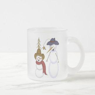 Cute Folk Art Cowboy Snowman Mug