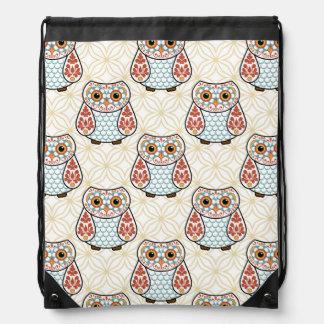 Cute Folk Art Owl Drawstring Bag