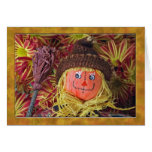 Cute Folk Art Scarecrow with Thanksgiving Poem Greeting Card