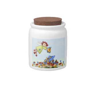 Cute Folk Country House and Picket Fence Art Candy Jar